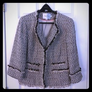 Boden blazer / jacket US 14 2/3 sleeve black white